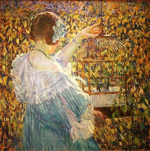 "Wellensittich Aquarell - Frederick Frieseke ""The Bird Cage"""